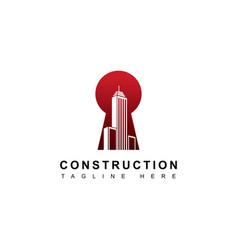 building with key hole symbol logo vector image