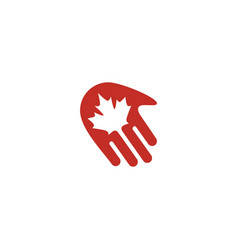 canada canadian hand maple leaf logo icon vector image