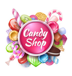 candies background realistic sweets and desserts vector image