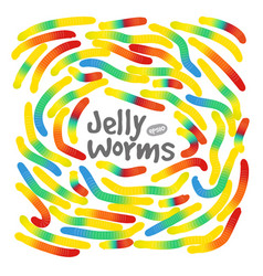 Candy gummy jelly worms on white background vector