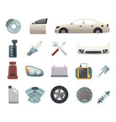 car parts automobile creation kit with gear vector image