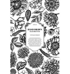 Card design with black and white poppy flower vector