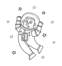 Cartoon astronaut floating in vector