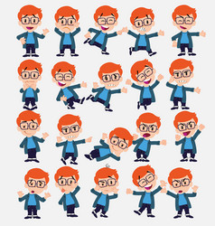 cartoon character white boy with glasses set with vector image