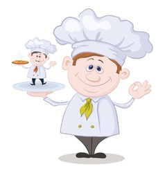 Cartoon cook and little chef with pizza vector