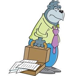 Cartoon tired gorilla carrying a briefcase vector image