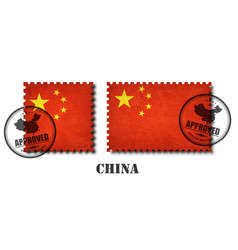 China or chinese flag pattern postage stamp vector