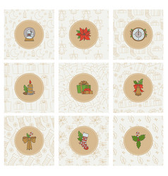 christmas and new year gold icons and seamless vector image