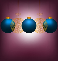 Christmas balls on violet vector image