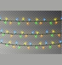 Christmas color lights string transparent effect vector