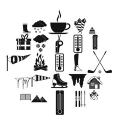 christmas presents icons set simple style vector image