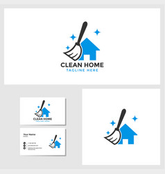 Clean house logo template with business card vector