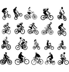 collection of 20 sketch bicyclists vector image