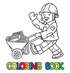 Coloring book of funny worker with cart vector image