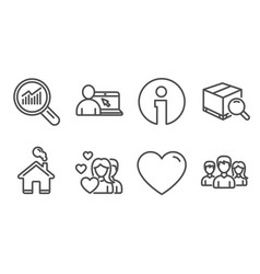 Couple heart and data analysis icons search vector