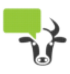 Cow opinion halftone icon vector