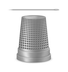 creative of needle thimble vector image