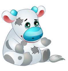 cute cow - old children stuffed toy with patch vector image