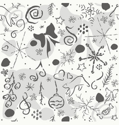 cute hand drawn winter pattern seamless texture vector image