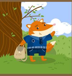 cute little fox student in school uniform standing vector image