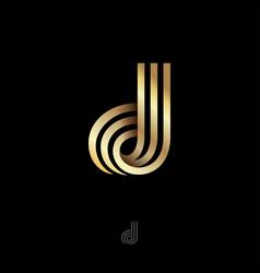 d letter monogram consist golden bent strips vector image