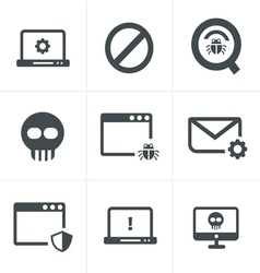 Digital criminal icons set vector image