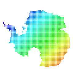 Dotted pixel spectrum antarctica map vector