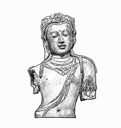 Drawing head of Bodhisattva vector