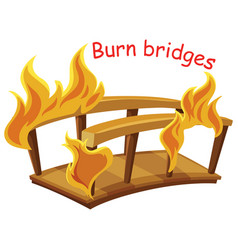 English idiom with picture description for burn vector