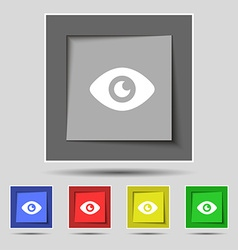 Eye publish content icon sign on the original five vector
