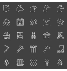 Farm thin line icons vector image
