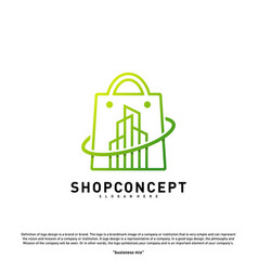fashion city logo concept shopping center with vector image
