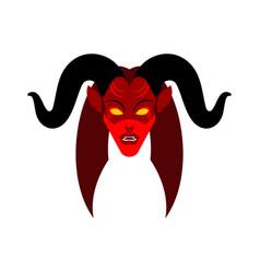 female demon with horns face woman devil succubus vector image