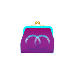 female purple purse image isolated on a white vector image
