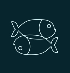 fish zodiac sign icon sea animal symbol isolated vector image