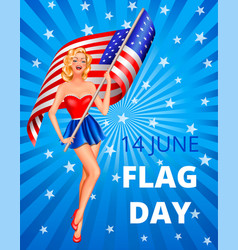 Flag day and woman vector