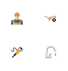 Flat icons handcart worker faucet vector