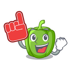 foam finger green bell peppers isolated on mascot vector image