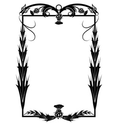 frame with thistle and dragons vector image