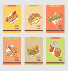 fresh fast food hand drawn cards brochure menu vector image