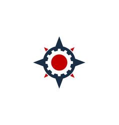 Gear compass logo icon design vector