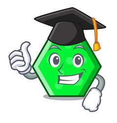 Graduation octagon character cartoon style vector