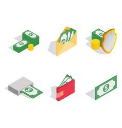 green dollar icon set isometric style vector image