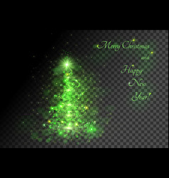 green sparkling christmas tree transparent vector image