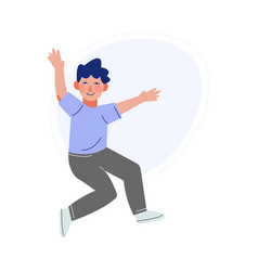 happy boy joyfully jumping smiling child in vector image