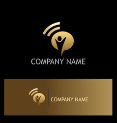 Happy man signal gold logo vector