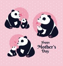 Happy mothers day panda cartoon vector