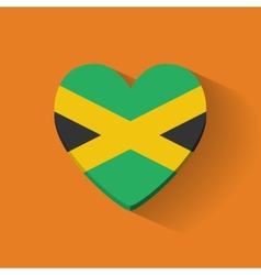 Heart-shaped icon with flag of Jamaica vector image