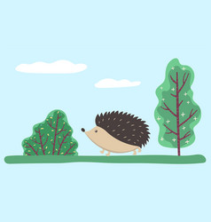 hedgehog walking animal with prickly needles vector image