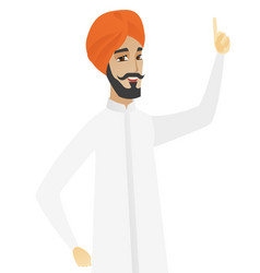 Hindu businessman pointing his forefinger up vector